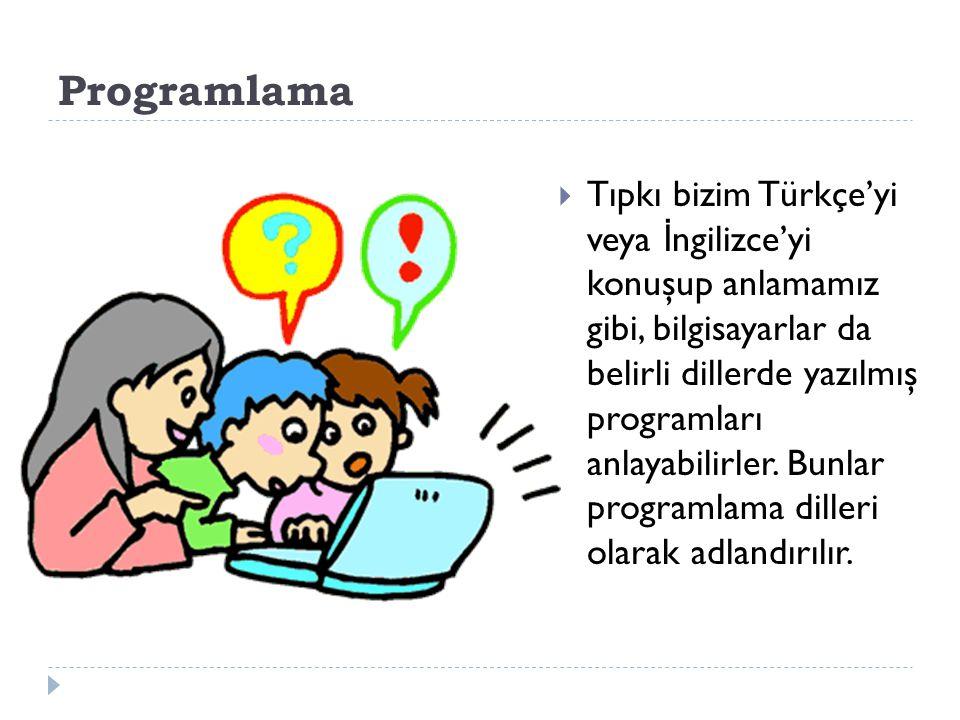 Programlama  Tıpkı bizim Türkçe'yi veya İ ngilizce'yi konuşup anlamamız gibi, bilgisayarlar da belirli dillerde yazılmış programları anlayabilirler.