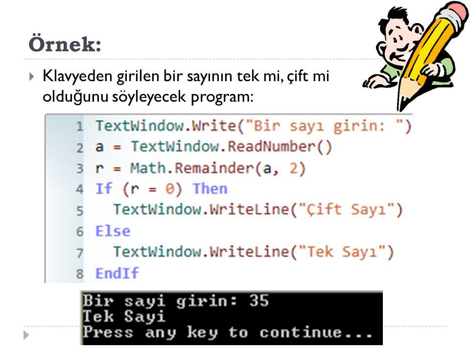Örnek:  Klavyeden girilen bir sayının tek mi, çift mi oldu ğ unu söyleyecek program: