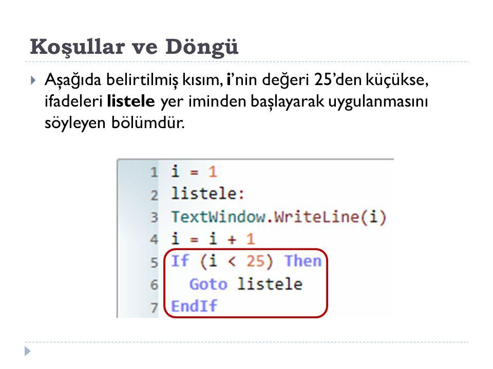 Koşullar ve Döngü  Aşa ğ ıda belirtilmiş kısım, i'nin de ğ eri 25'den küçükse, ifadeleri listele yer iminden başlayarak uygulanmasını söyleyen bölümdür.