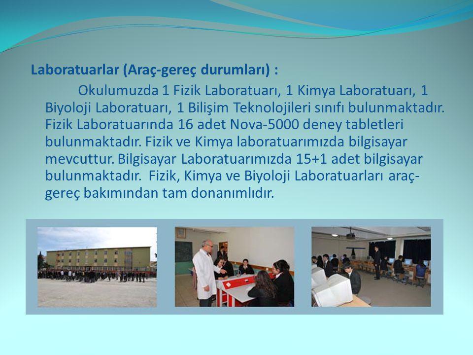 Laboratuarlar (Araç-gereç durumları) : Okulumuzda 1 Fizik Laboratuarı, 1 Kimya Laboratuarı, 1 Biyoloji Laboratuarı, 1 Bilişim Teknolojileri sınıfı bulunmaktadır.