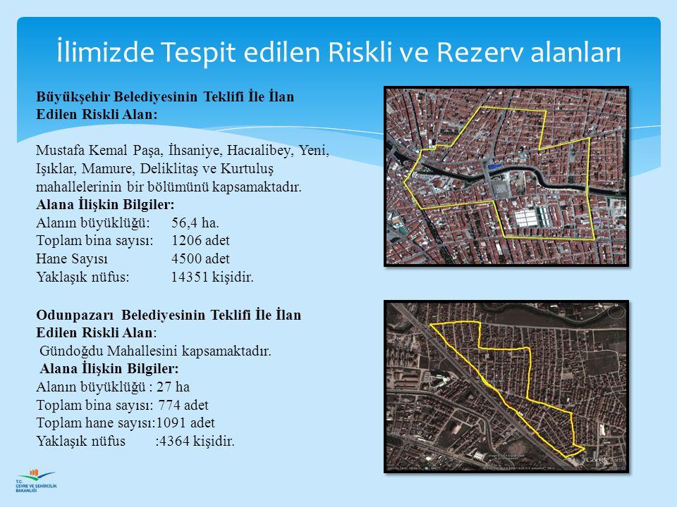Büyükşehir Belediyesinin Teklifi İle İlan Edilen Riskli Alan: Mustafa Kemal Paşa, İhsaniye, Hacıalibey, Yeni, Işıklar, Mamure, Deliklitaş ve Kurtuluş