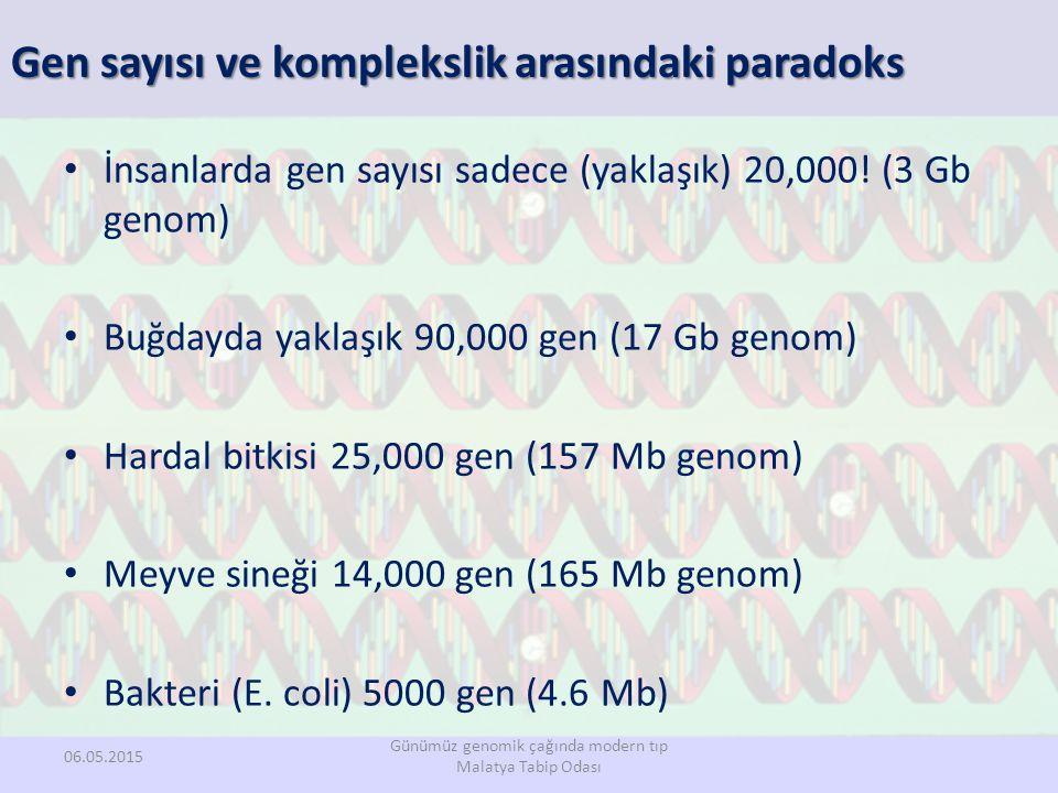 Gen sayısı ve komplekslik arasındaki paradoks İnsanlarda gen sayısı sadece (yaklaşık) 20,000! (3 Gb genom) Buğdayda yaklaşık 90,000 gen (17 Gb genom)
