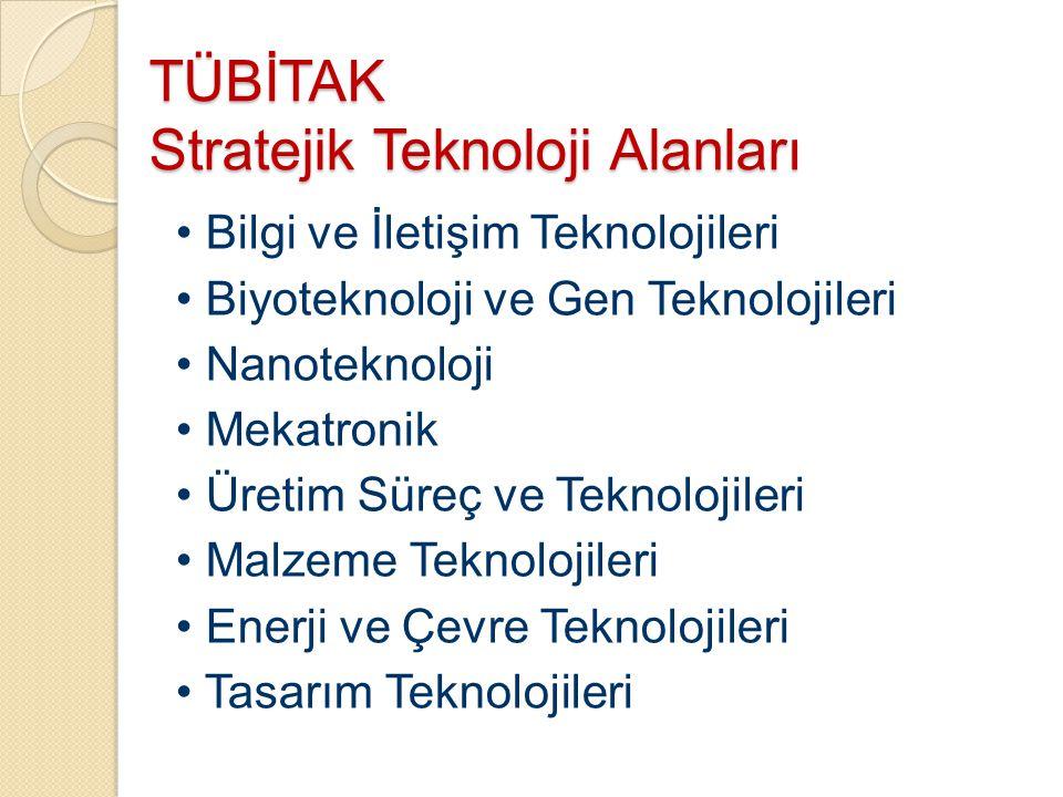 TÜBİTAK Stratejik Teknoloji Alanları Bilgi ve İletişim Teknolojileri Biyoteknoloji ve Gen Teknolojileri Nanoteknoloji Mekatronik Üretim Süreç ve Tekno