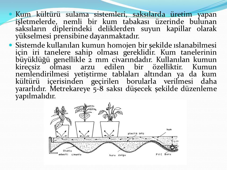 Kum kültürü sulama sistemleri, saksılarda üretim yapan işletmelerde, nemli bir kum tabakası üzerinde bulunan saksıların diplerindeki deliklerden suyun