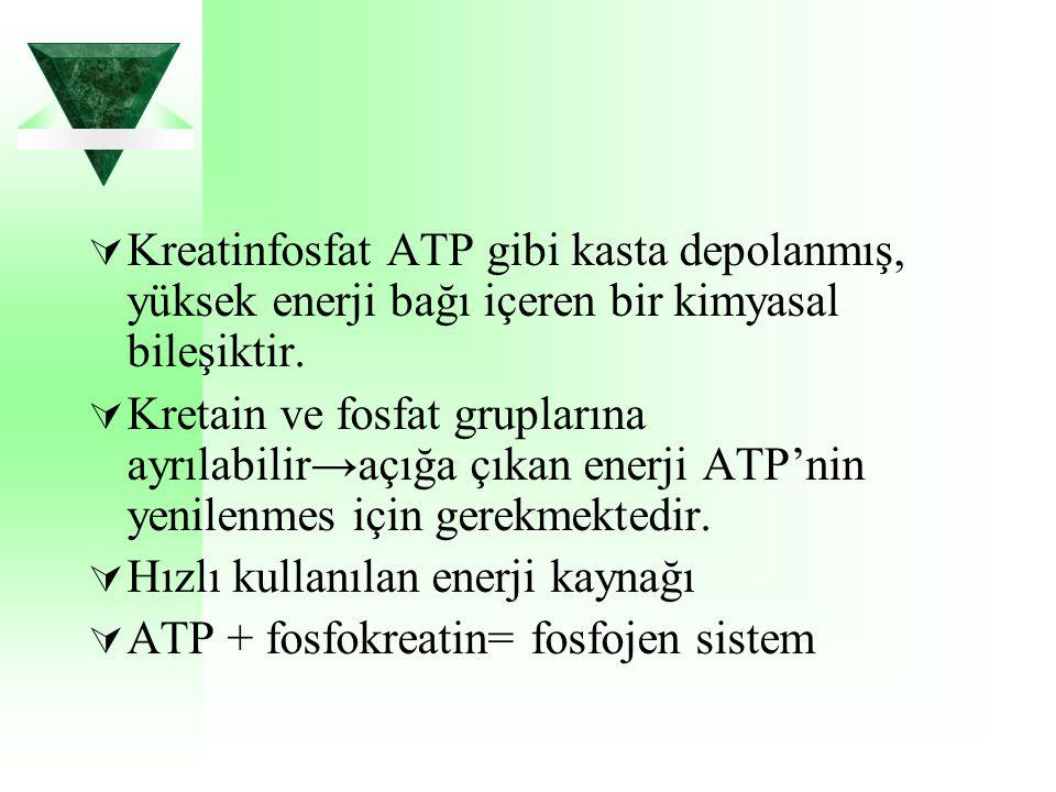  Kreatinfosfat ATP gibi kasta depolanmış, yüksek enerji bağı içeren bir kimyasal bileşiktir.  Kretain ve fosfat gruplarına ayrılabilir→açığa çıkan e