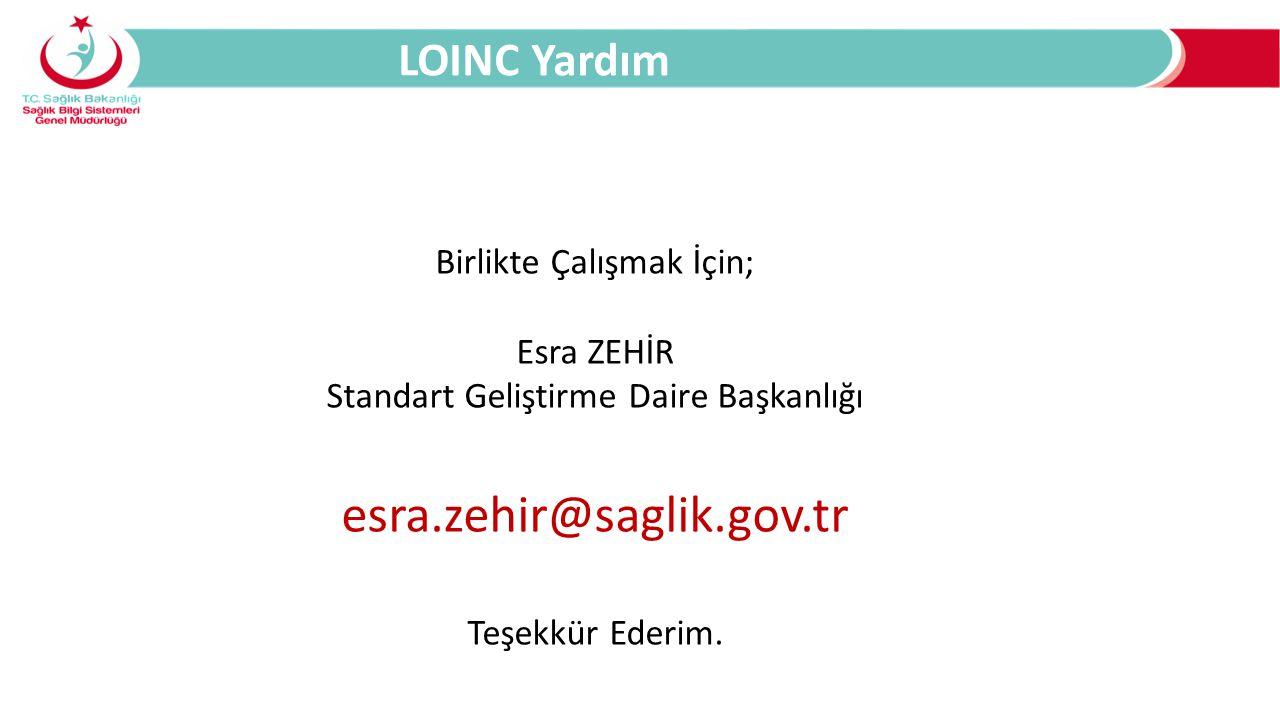 Birlikte Çalışmak İçin; Esra ZEHİR Standart Geliştirme Daire Başkanlığı esra.zehir@saglik.gov.tr Teşekkür Ederim.