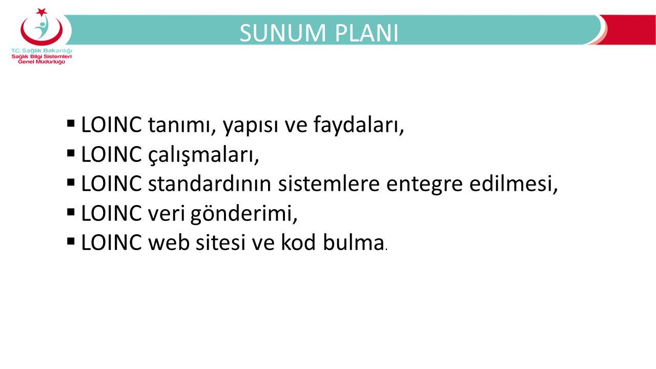 SUNUM PLANI  LOINC tanımı, yapısı ve faydaları,  LOINC çalışmaları,  LOINC standardının sistemlere entegre edilmesi,  LOINC veri gönderimi,  LOIN