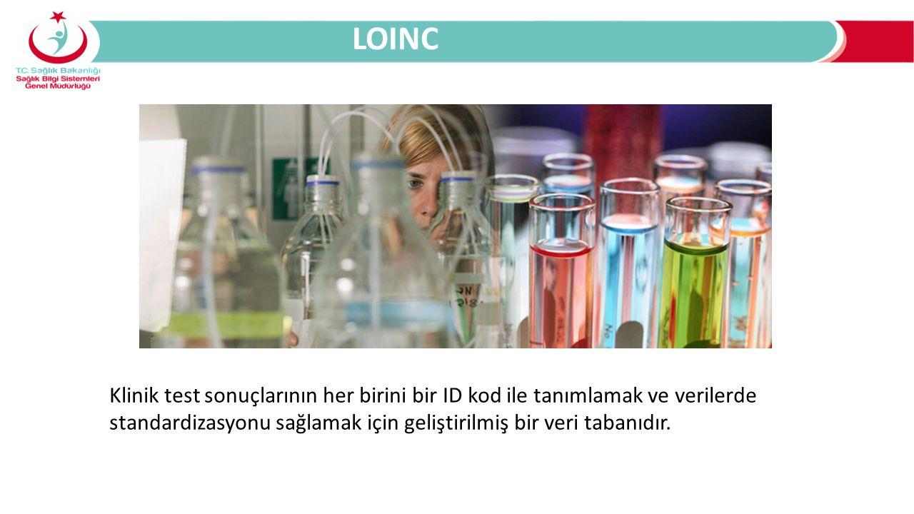 Klinik test sonuçlarının her birini bir ID kod ile tanımlamak ve verilerde standardizasyonu sağlamak için geliştirilmiş bir veri tabanıdır. LOINC