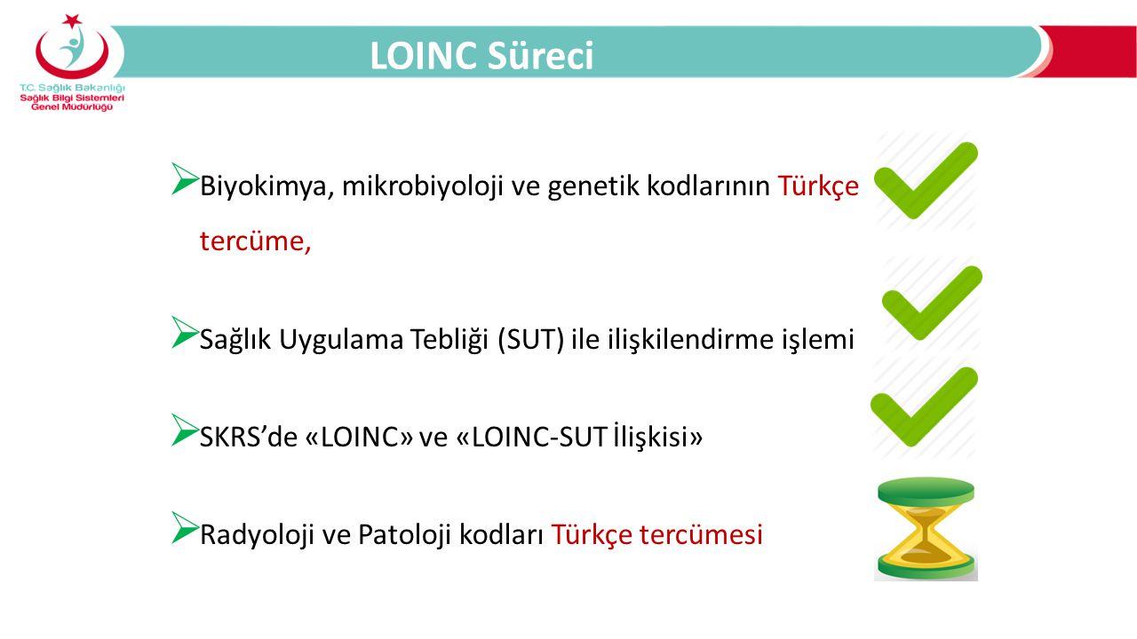  Biyokimya, mikrobiyoloji ve genetik kodlarının Türkçe tercüme,  Sağlık Uygulama Tebliği (SUT) ile ilişkilendirme işlemi  SKRS'de «LOINC» ve «LOINC