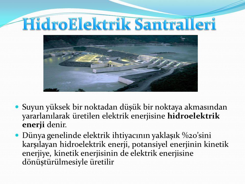 Suyun yüksek bir noktadan düşük bir noktaya akmasından yararlanılarak üretilen elektrik enerjisine hidroelektrik enerji denir.