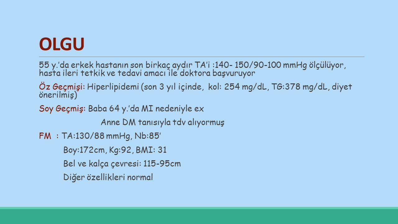 LABARATUAR Biyokimya AKŞ:119mg/dL Kol: 299mg/dL TG:628mg/dL HDL kol:29mg/dL TK/HDL Kol:10.31