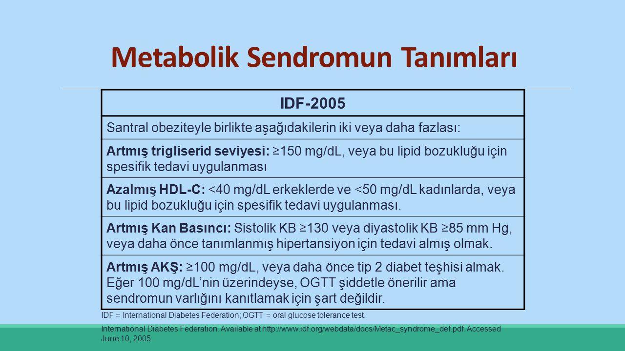 Metabolik Sendromun Tanımları IDF-2005 Santral obeziteyle birlikte aşağıdakilerin iki veya daha fazlası: Artmış trigliserid seviyesi: ≥150 mg/dL, veya