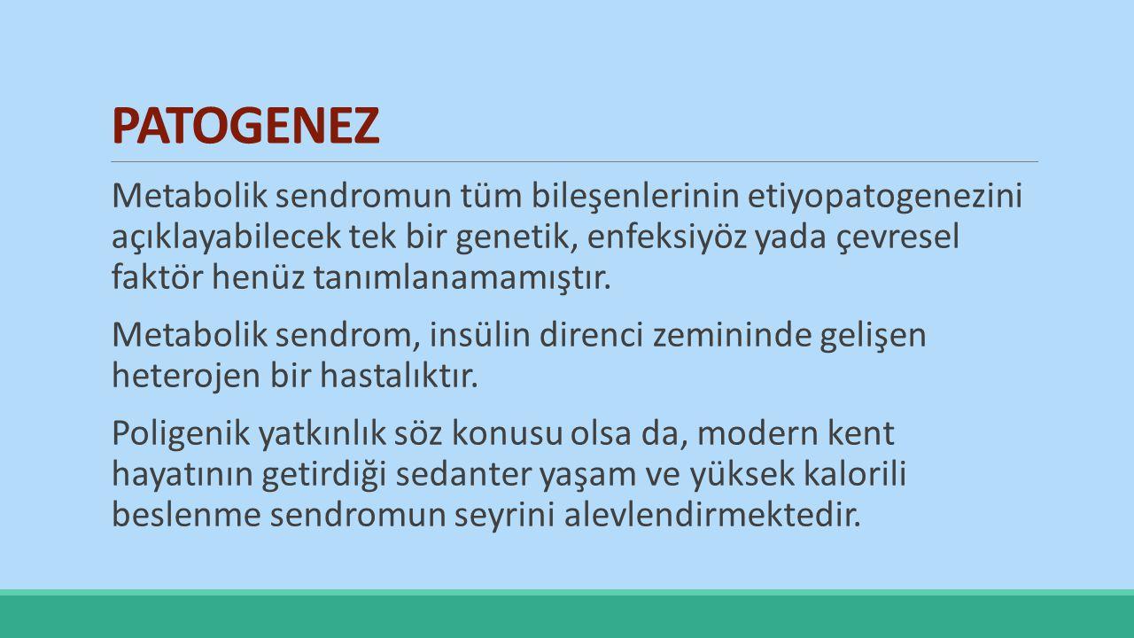 Türkiye Endokrinoloji Metabolizma Derneği, Metabolik Sendrom Çalışma Grubunun önerdiği, Metabolik Sendrom Tanı Kriterleri (2005) Diabetes mellitus - Bozulmuş glukoz toleransı- İnsülin direnci'inden herhangi biriyle birlikte;  Aşağıdakilerden en az ikisi: Hipertansiyon (sistolik kan basıncı >130, diyastolik kan basıncı >85 mmHg veya antihipertansif kullanıyor olmak) Trigliserid düzeyi > 150 mg/dl HDL düzeyi erkekte < 40 mg/dl, kadında < 50 mg/dl) Abdominal obezite (VKİ > 30 kg/m2 veya bel çevresi: erkeklerde > 94 cm, kadınlarda > 80 cm) * * Yerel veriler olmadığından IDF 2005 kılavuzunda Avrupalılar için önerilen değerler baz alınmıştır