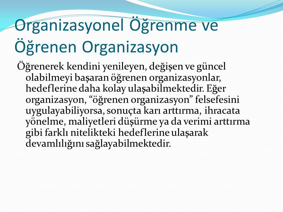 Organizasyonel Öğrenme ve Öğrenen Organizasyon Öğrenerek kendini yenileyen, değişen ve güncel olabilmeyi başaran öğrenen organizasyonlar, hedeflerine daha kolay ulaşabilmektedir.