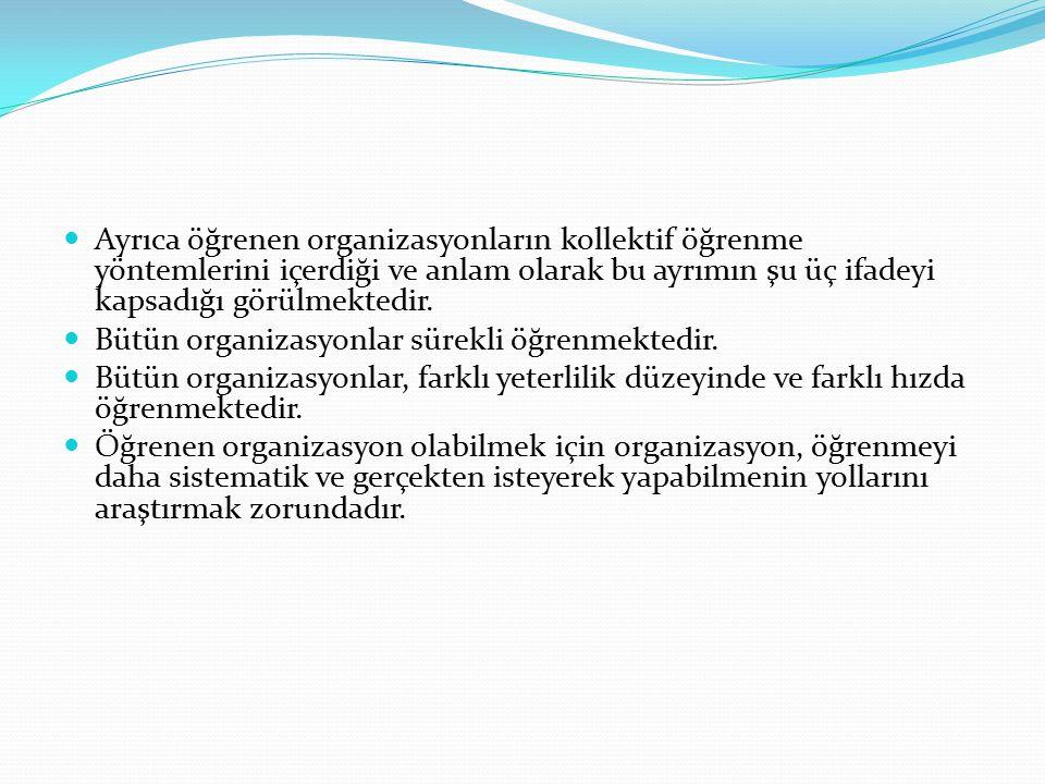 Ayrıca öğrenen organizasyonların kollektif öğrenme yöntemlerini içerdiği ve anlam olarak bu ayrımın şu üç ifadeyi kapsadığı görülmektedir.