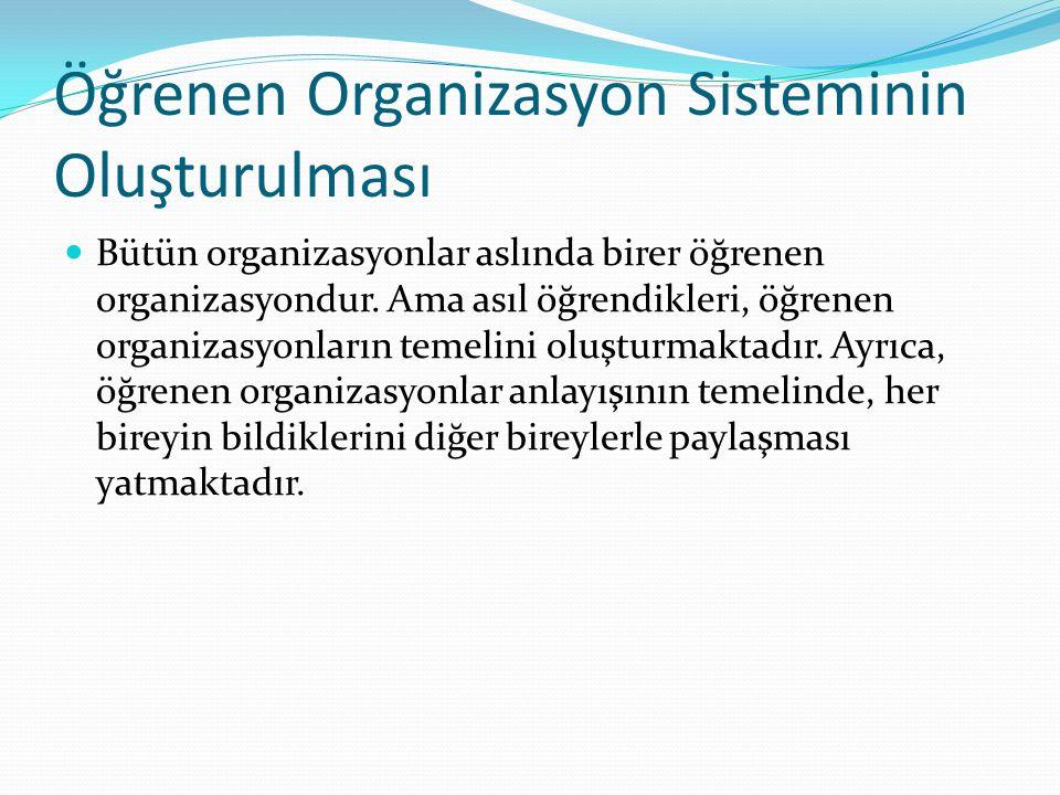 Öğrenen Organizasyon Sisteminin Oluşturulması Bütün organizasyonlar aslında birer öğrenen organizasyondur.