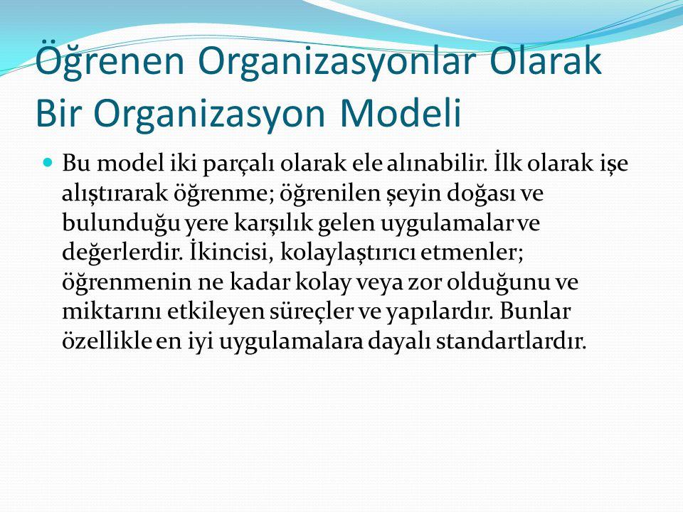Öğrenen Organizasyonlar Olarak Bir Organizasyon Modeli Bu model iki parçalı olarak ele alınabilir.
