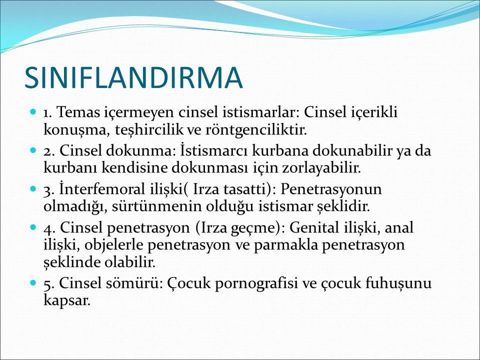 SINIFLANDIRMA 1. Temas içermeyen cinsel istismarlar: Cinsel içerikli konușma, teșhircilik ve röntgenciliktir. 2. Cinsel dokunma: İstismarcı kurbana do