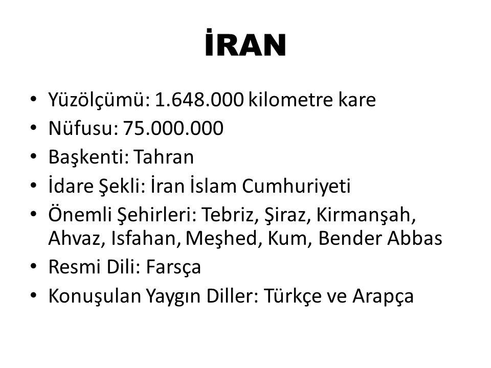 İRAN Yüzölçümü: 1.648.000 kilometre kare Nüfusu: 75.000.000 Başkenti: Tahran İdare Şekli: İran İslam Cumhuriyeti Önemli Şehirleri: Tebriz, Şiraz, Kirm