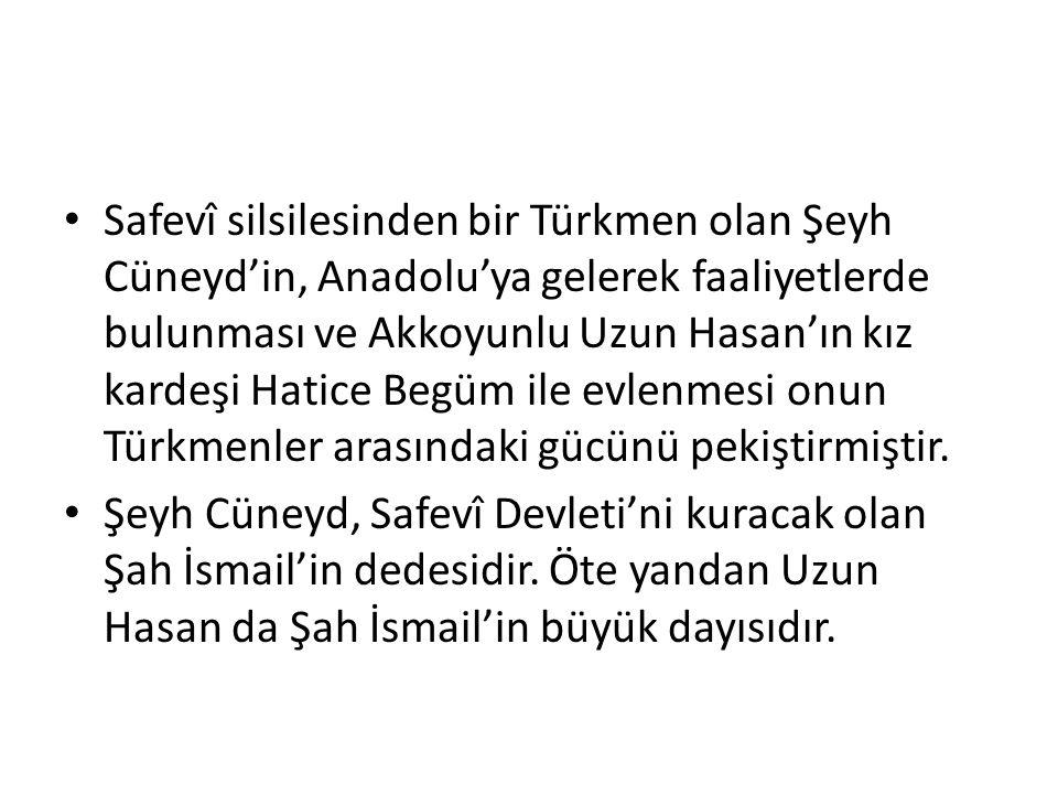 Safevî silsilesinden bir Türkmen olan Şeyh Cüneyd'in, Anadolu'ya gelerek faaliyetlerde bulunması ve Akkoyunlu Uzun Hasan'ın kız kardeşi Hatice Begüm i