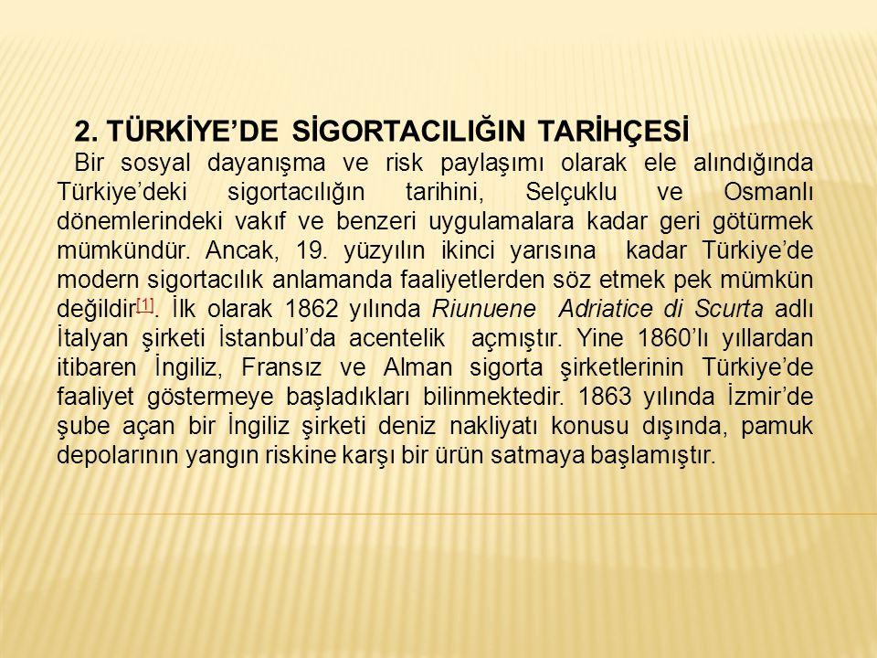 2. TÜRKİYE'DE SİGORTACILIĞIN TARİHÇESİ Bir sosyal dayanışma ve risk paylaşımı olarak ele alındığında Türkiye'deki sigortacılığın tarihini, Selçuklu ve