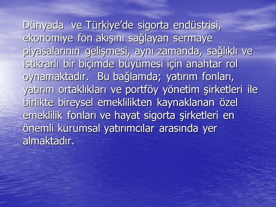 Dünyada ve Türkiye'de sigorta endüstrisi, ekonomiye fon akışını sağlayan sermaye piyasalarının gelişmesi, aynı zamanda, sağlıklı ve istikrarlı bir biç