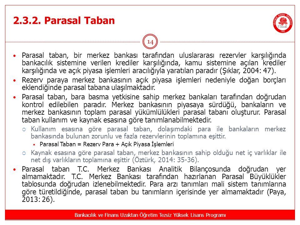 2.3.2. Parasal Taban Bankacılık ve Finans Uzaktan Öğretim Tezsiz Yüksek Lisans Programı 14 Parasal taban, bir merkez bankası tarafından uluslararası r