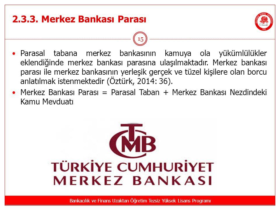 2.3.3. Merkez Bankası Parası Bankacılık ve Finans Uzaktan Öğretim Tezsiz Yüksek Lisans Programı 15 Parasal tabana merkez bankasının kamuya ola yükümlü