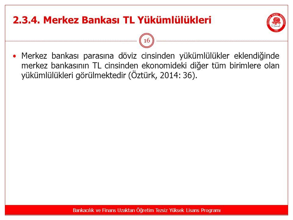2.3.4. Merkez Bankası TL Yükümlülükleri Bankacılık ve Finans Uzaktan Öğretim Tezsiz Yüksek Lisans Programı 16 Merkez bankası parasına döviz cinsinden