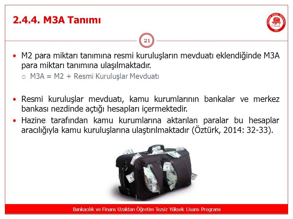 2.4.4. M3A Tanımı Bankacılık ve Finans Uzaktan Öğretim Tezsiz Yüksek Lisans Programı 21 M2 para miktarı tanımına resmi kuruluşların mevduatı eklendiği