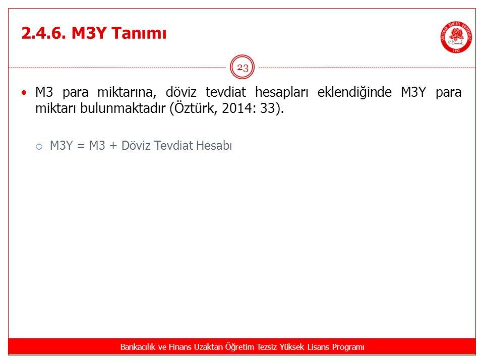 2.4.6. M3Y Tanımı Bankacılık ve Finans Uzaktan Öğretim Tezsiz Yüksek Lisans Programı 23 M3 para miktarına, döviz tevdiat hesapları eklendiğinde M3Y pa
