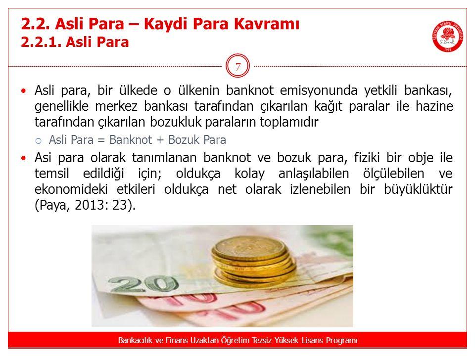 2.2. Asli Para – Kaydi Para Kavramı 2.2.1. Asli Para Bankacılık ve Finans Uzaktan Öğretim Tezsiz Yüksek Lisans Programı 7 Asli para, bir ülkede o ülke