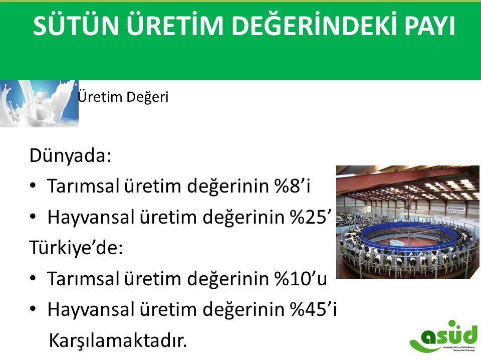 SÜTÜN ÜRETİM DEĞERİNİN PAYI Üretim Değeri Dünyada: Tarımsal üretim değerinin %8'i Hayvansal üretim değerinin %25'i Türkiye'de: Tarımsal üretim değerin