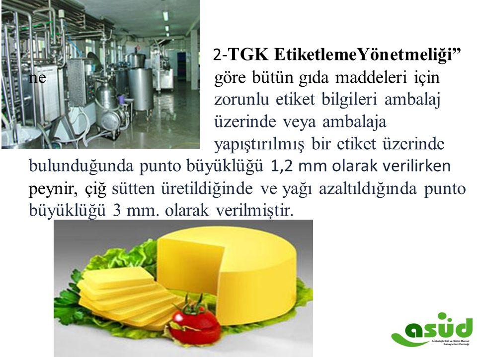 """2- TGK EtiketlemeYönetmeliği"""" ne göre bütün gıda maddeleri için zorunlu etiket bilgileri ambalaj üzerinde veya ambalaja yapıştırılmış bir etiket üzeri"""