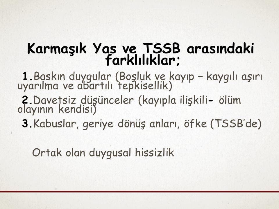 Karmaşık Yas ve TSSB arasındaki farklılıklar; 1.Baskın duygular (Boşluk ve kayıp – kaygılı aşırı uyarılma ve abartılı tepkisellik) 2.Davetsiz düşüncel