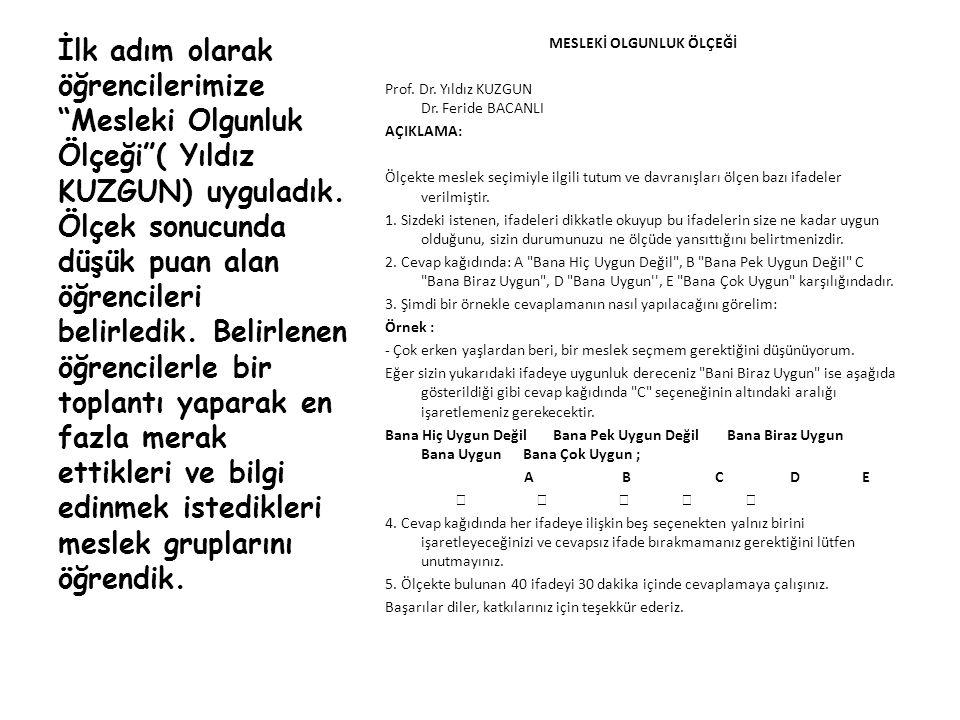 MESLEKİ OLGUNLUK ÖLÇEĞİ Prof.Dr. Yıldız KUZGUN Dr.