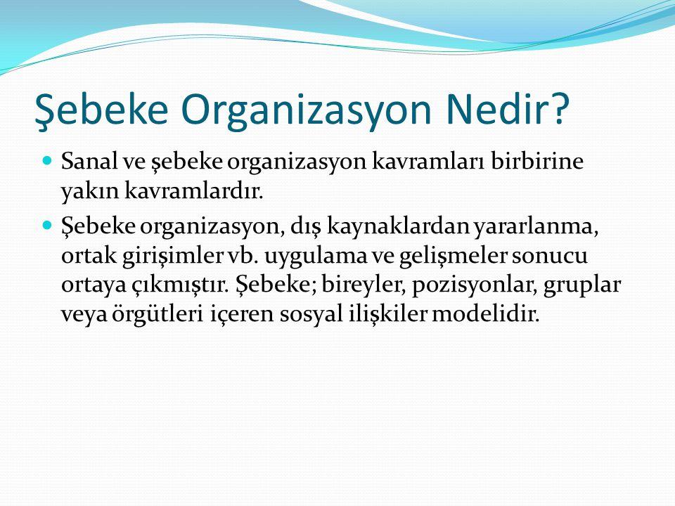 Şebeke Organizasyon Nedir? Sanal ve şebeke organizasyon kavramları birbirine yakın kavramlardır. Şebeke organizasyon, dış kaynaklardan yararlanma, ort