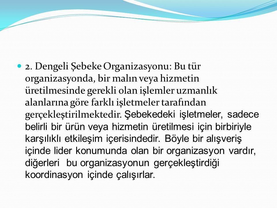 2. Dengeli Şebeke Organizasyonu: Bu tür organizasyonda, bir malın veya hizmetin üretilmesinde gerekli olan işlemler uzmanlık alanlarına göre farklı iş