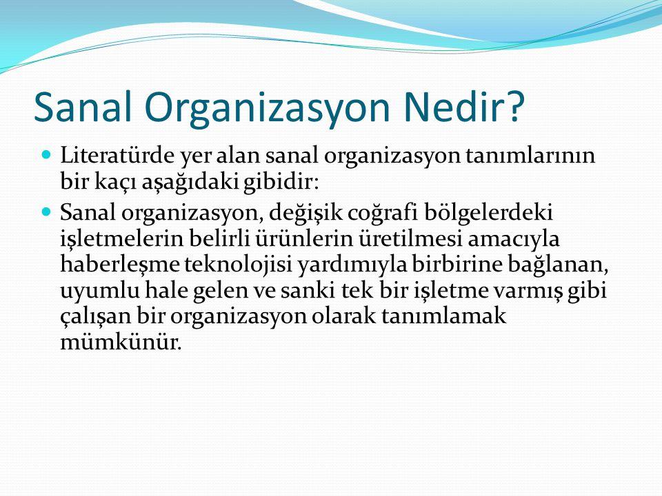 Sanal Organizasyon Nedir? Literatürde yer alan sanal organizasyon tanımlarının bir kaçı aşağıdaki gibidir: Sanal organizasyon, değişik coğrafi bölgele
