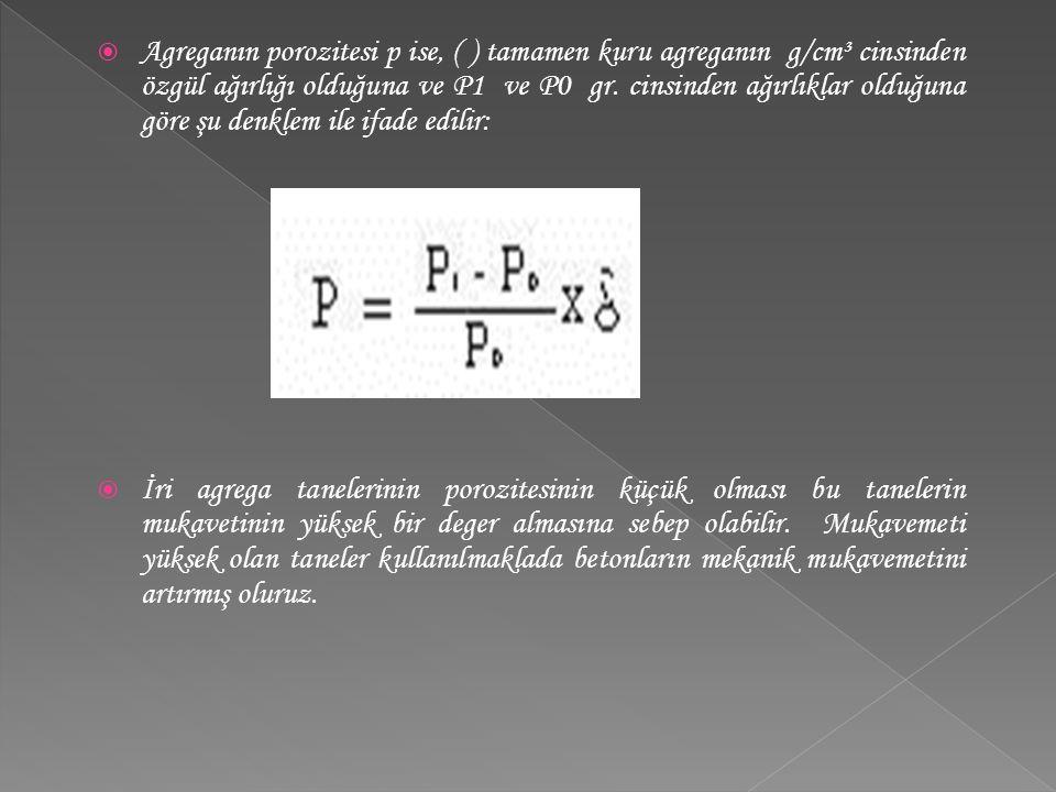  Agreganın porozitesi p ise, ( ) tamamen kuru agreganın g/cm³ cinsinden özgül ağırlığı olduğuna ve P1 ve P0 gr. cinsinden ağırlıklar olduğuna göre şu