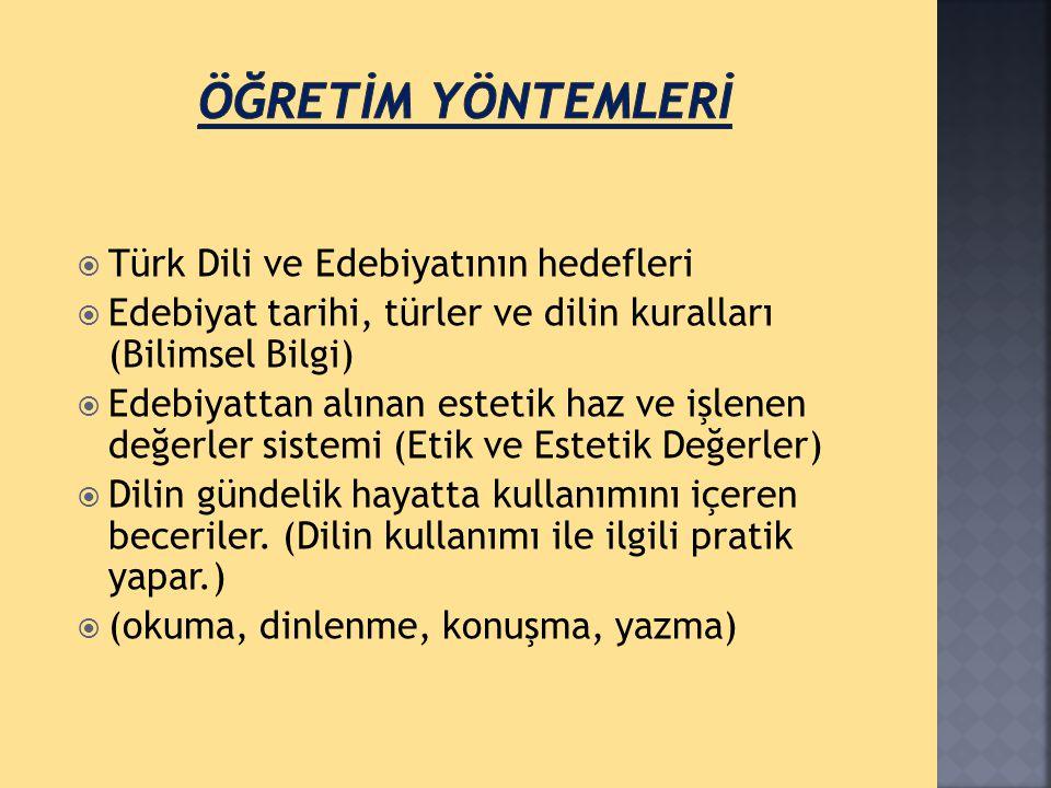 Türk Dili ve Edebiyatının hedefleri  Edebiyat tarihi, türler ve dilin kuralları (Bilimsel Bilgi)  Edebiyattan alınan estetik haz ve işlenen değerl