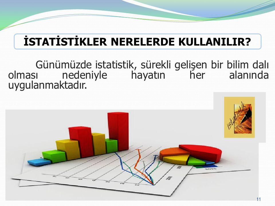 Günümüzde istatistik, sürekli gelişen bir bilim dalı olması nedeniyle hayatın her alanında uygulanmaktadır.
