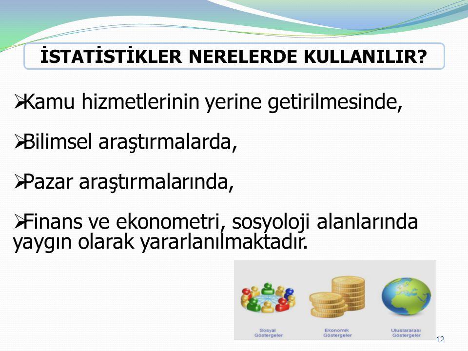  Kamu hizmetlerinin yerine getirilmesinde,  Bilimsel araştırmalarda,  Pazar araştırmalarında,  Finans ve ekonometri, sosyoloji alanlarında yaygın