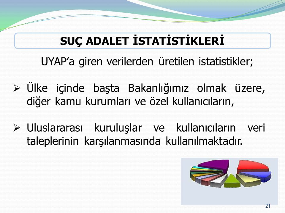 UYAP'a giren verilerden üretilen istatistikler;  Ülke içinde başta Bakanlığımız olmak üzere, diğer kamu kurumları ve özel kullanıcıların,  Uluslarar