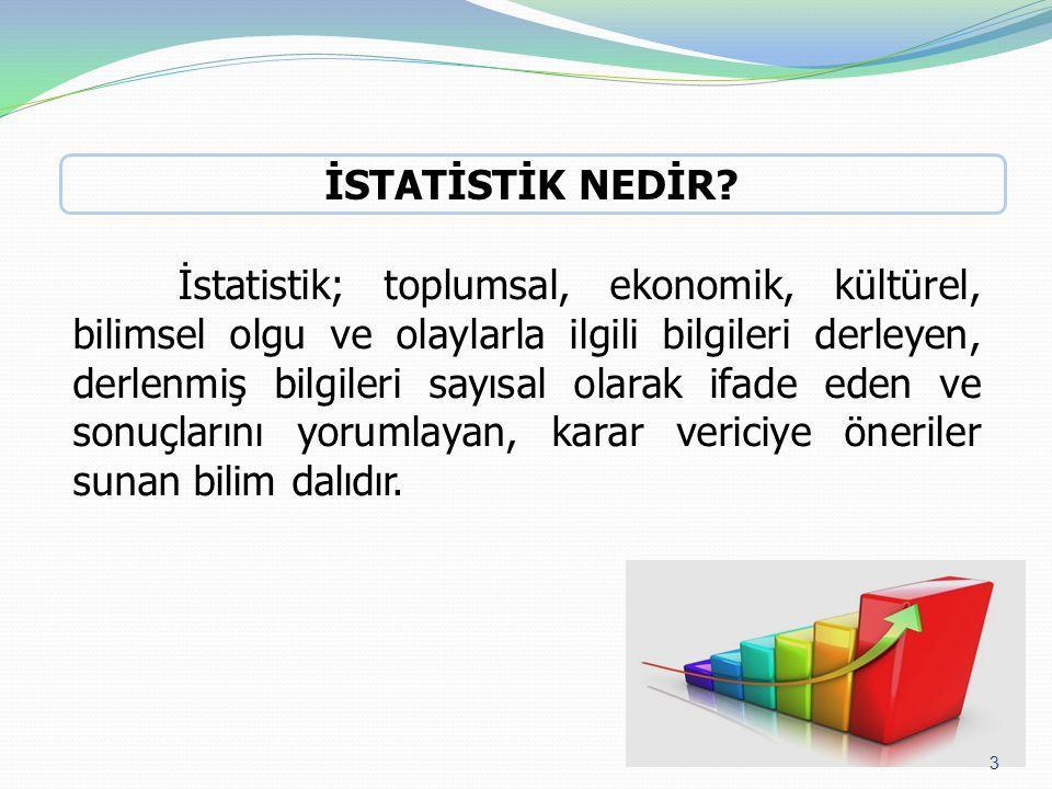 İstatistik; toplumsal, ekonomik, kültürel, bilimsel olgu ve olaylarla ilgili bilgileri derleyen, derlenmiş bilgileri sayısal olarak ifade eden ve sonuçlarını yorumlayan, karar vericiye öneriler sunan bilim dalıdır.