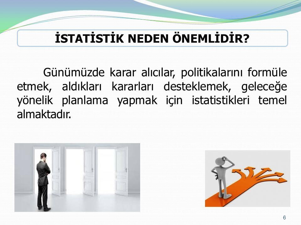 Günümüzde karar alıcılar, politikalarını formüle etmek, aldıkları kararları desteklemek, geleceğe yönelik planlama yapmak için istatistikleri temel al
