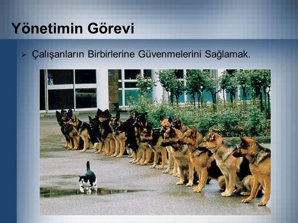 Yönetimin Görevi  Çalışanların Birbirlerine Güvenmelerini Sağlamak.