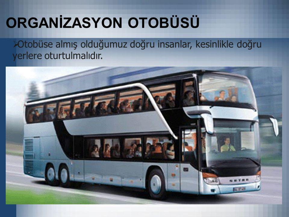 ORGANİZASYON OTOBÜSÜ  Otobüse almış olduğumuz doğru insanlar, kesinlikle doğru yerlere oturtulmalıdır.