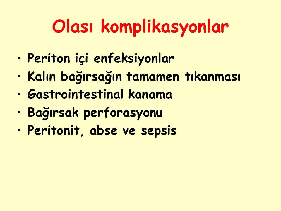 Olası komplikasyonlar Periton içi enfeksiyonlar Kalın bağırsağın tamamen tıkanması Gastrointestinal kanama Bağırsak perforasyonu Peritonit, abse ve se