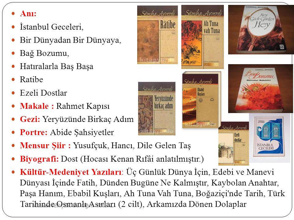 Anı: İstanbul Geceleri, Bir Dünyadan Bir Dünyaya, Bağ Bozumu, Hatıralarla Baş Başa Ratibe Ezeli Dostlar Makale : Rahmet Kapısı Gezi: Yeryüzünde Birkaç